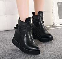 2014 Winter Women Boots Solid High heels 11CM platform Ankle boots Women wedges boots pointed toe martin boots Size 36 Black SN9