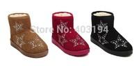 Fashion 2014 Winter Women Snow Boots waterproof Warm snow boots Slip on round toe rhinestone Short Wedges boots Red Size 36 MZU