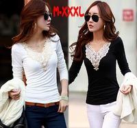 Blusas Femininas 2015 Long Sleeve V-neck Casual T shirt Women Blouse Thicken Women Tops Plus Size Crochet Blouses Camisas