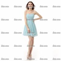 Wholesale & Retail Short Evening Dress 2015 New Arrival Blue Microfiber Sweetheart Beading Women Short Evening Dresses Size2-26w