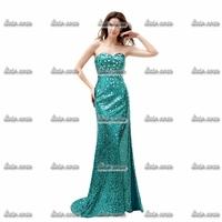 Free Shipping Retail New Long Strapless Evening Dresses 2015 Chiffon A-Line Pleat Long Party Dress Women Sexy Dress Mermaid