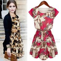 2015 Spring New Noble Sleeveless Printed Mini Dresses Women Casual Dress Vestidos
