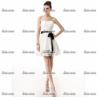 2015 Brand New Fashion Elegant Short Evening Dresses 2015 Court Train Satin Polyester White Short Evening Dress Size 2-26w