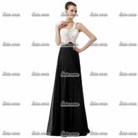 2015 Top Quality Black Lace One Shoulder Evening Dress V-Neck Bow Cotton Taffeta Formal Evening Spaghetti Strap Party Dress