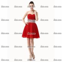 Free Shipping Retail Short Evening Dresses 2015 V-Neck Bow Cotton Taffeta Formal Evening Spaghetti Strap Red Short Evening Dress