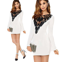 New 2015 Spring Summer New Womens Sexy Hollow Out Retro Lace Dress Long Sleeve party Fashion Dresses White Bandage  Dress S-XXL