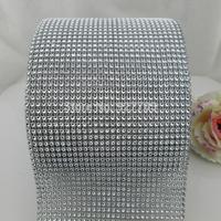 (CM798)10 Yard 30 Row Platinum Color Sparkle Rhinestone Crystal Diamond Mesh Wrap Roll Ribbon