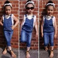 Fashiom Baby Girls Clothing Set:Flouncing Sleeveless Tops Plus Bib Jeans Top Quality Children Clothing Kid Spring Summer Sets