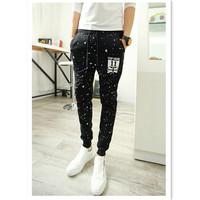 2015 New Fall Men's Fashion Sport Pants Cotton Blend Harem Pants Men Slim Printing Joggers Pants Trousers CX852561