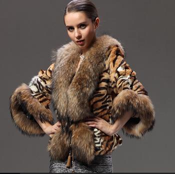 Новый природный енот шубы из натурального меха куртки женщин оптовая настоящее рекс кролика меха верхняя одежда тигровые полосы мыс Большой размер жилет