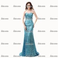 High Quality Strapless Evening Dress White Organza Blue Crystal V-Neck Cotton Taffeta Evening Strap Long Party Dresses 2015