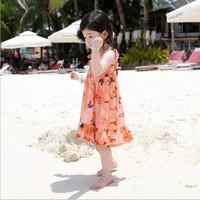 New Summer Girls Chiffon Princess Dress Children Butterfly Printed Beach Dress Casual Kids Ruffle Tank Dresses Sundress 4658