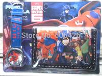 10pcs Top Sales Watch Big Hero 6 Best Birthday Gift For Kids Christmas Presents boys Watches+Wallet Set Children Wristwatch