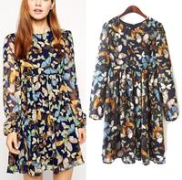 Women Dress 2015 Vestidos Colored Butterfly Print Dress Pleated Hem High Waist Vintage Long Sleeve Casual Lady Party Dresses