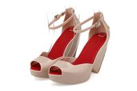 2015  melissa high heels with bowtie Jelly Shoes open toe pumps Women Summer Sandals