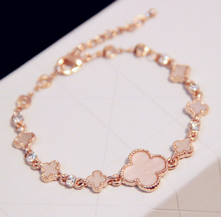 Clover Bracelets Fashion Rose Gold Plated Crystal Alloy Bracelet & Bangle For Women Korea Accessories Adjustable Jewelry 2015(China (Mainland))
