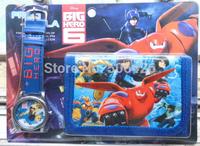 1pcs New 2015 Fashion Big Hero 6 cartoon girl's wallet watches,kids cute Children's cartoon watches & purseswristwatches gift