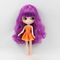 Bb nude Blyth doll bjd 1/6 b female doll big eyes violet color long hair with bangs modified make up dolls for girls