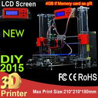 2015 NEW High Precision Prusa i3 Desktop DIY 3D Printer machine Acrylic Frame LCD Screen impressora 3D Printer LCD Kit Reprap