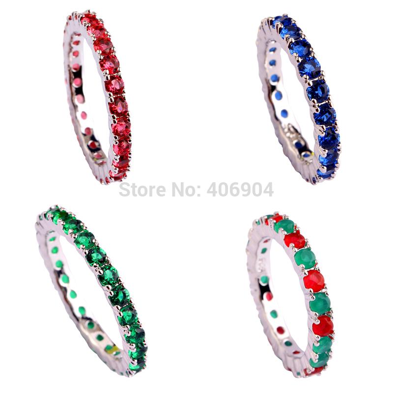 New Jewelry Wholesale Ruby Spinel Sapphire Quartz Emerald Quartz 925 Silver Ring Size 6 7 8