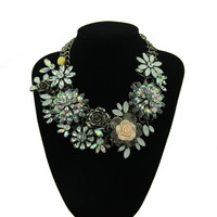 2015 New Handmade Crystal Flower Chunky Statement Necklace