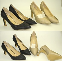 Women pumps high heels shoes thick heel Glitter gold black pumps for women high heels sexy pointed toe high heels gold pumps