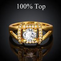 18K Gold Plated CZ Diamond Ring Jewelry