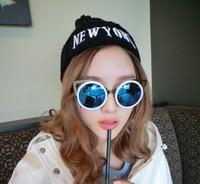 2015 Newest Fashion Holland Women/female Retro Cat eye Personalized Sunglasses Round Frame Sexy Eyeglasses 7 Colors Mirror
