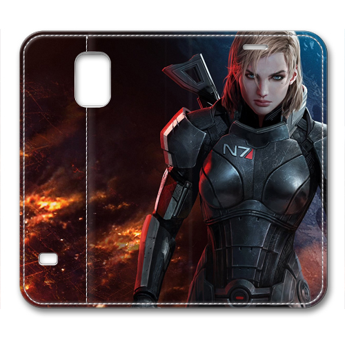 Mass Effect 3 Femshep Commander Shepard Fresh New Leather Cover for Samsung Galaxy S5(China (Mainland))