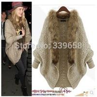 2014 new European and American Fan Hanguo female cardigan sweater shawl cape bat loose knit sweater coat
