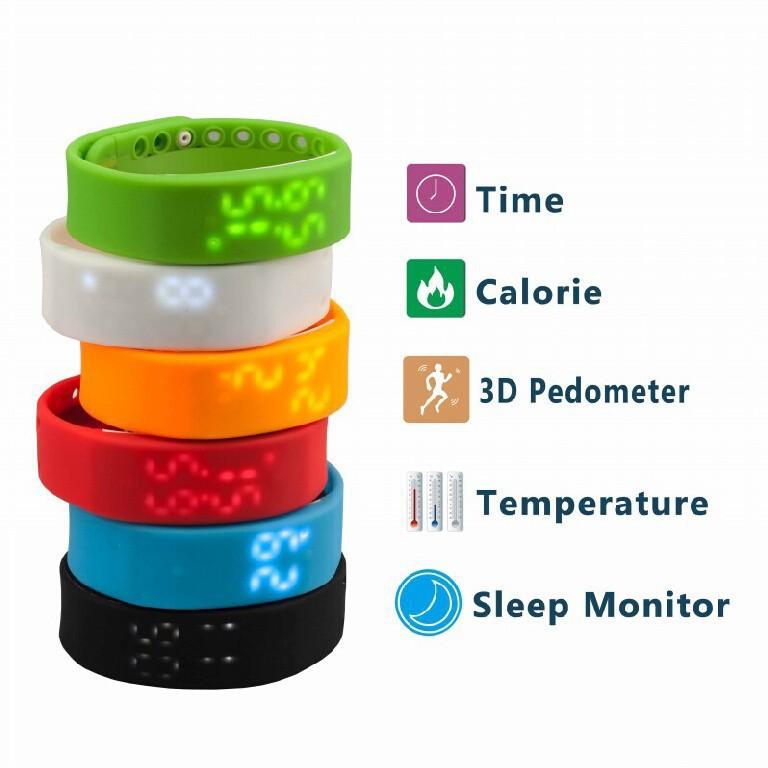 2015 Fashion Student Smart Bracelet Watch Pedometer Sleep Monitor Temperature Monitoring Digital LED Sports Watches Unisex USB(China (Mainland))