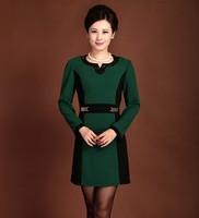 Quinquagenarian spring autumn women's one-piece dress elegant mother clothing middle-age women basic medium-long dress