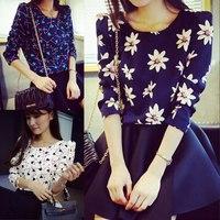 2015 autumn vintage print chiffon shirt female long-sleeve top pattern love all-match One Size