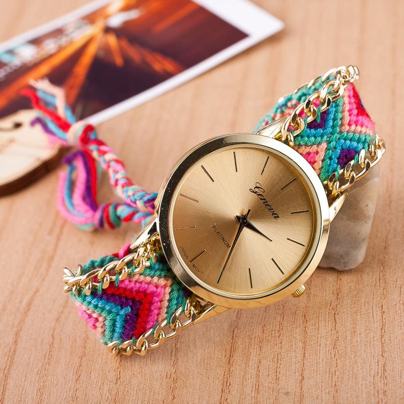 2015 New fashion cute handcrafted Woven quartz watch geneva famous brand gold dial clock women casual