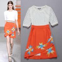High Quality New 2015 Fashion Dress Runway Women Lace Print Patchwork Color Block Slim Fit  Bodycon Dress Ladies Lace Dress