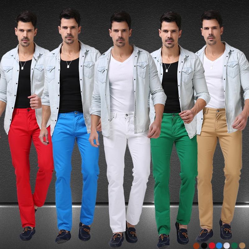 jeans hommes de bonbons de couleur solide 2015 nouveau printemps été automne mode casual jeans de marque calca f0640