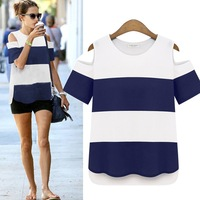 2015 New Fashion Women Shirt-sleeves Blouses White and Blue