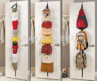 New Arrival Adjustable Over Door Straps Hanger Hat Bag Coat Clothes Rack Organizer 8 Hooks Free & Drop Shipping