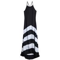 2015 Women Long Dresses Black White Striped Slim Sleeveless vestido de festa Ladies Casual Evening Elegant Party Dress ay657667