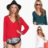2015 Hot Sale Fashion Casual Shirts Autumn Spring Long Sleeve V Neck Chiffon Womens Blouse S-2XL A0342