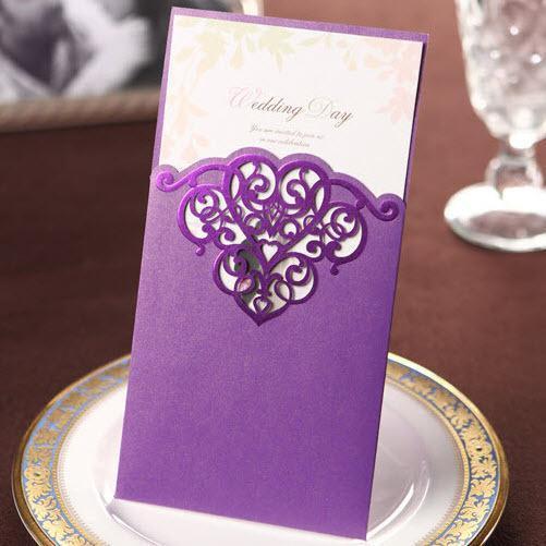 150pcs/lot elegante hochzeitseinladungen lila papier druckbare karten ...