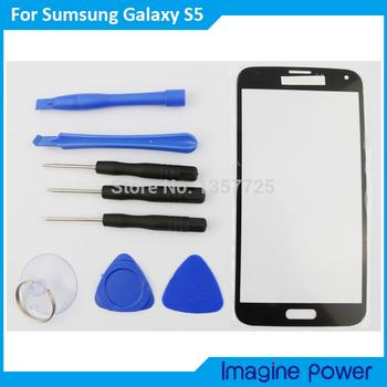 Черный новый замена внешний переднее стекло объектива щебень для Samsung Galaxy S5 i9600 + клей + инструментов