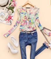 2015 v-neck Spring New chiffon Women blouses flower printed shirts women clothing blusas femininas CS9145