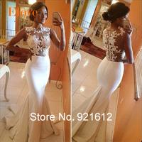 2015 Fashionable Renda Mermaid Lace Curto Casamento Bride Festa Longo Romantic Vestido De Noiva Robe Mariage Wedding Dress WDF31
