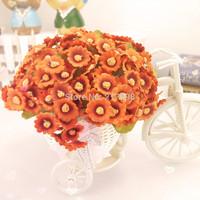 Decorative flower set silk daisy + rattan vase home decoration beige orange burgundy