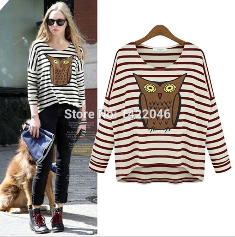 Autumn Fall Women Striped Animal Owl Print T Shirt Long Sleeves Basic Shirts Woman Design Tshirt Tops Female Tees Roupas WTSoo17(China (Mainland))