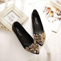 Rhinestones flats shoes woman big size EU 33-41 by factory