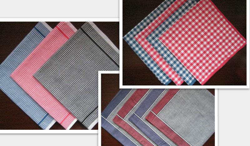 6 pieces 40cm x 40cm checks pattern 100% cotton handkerchiefs ( QS )(China (Mainland))