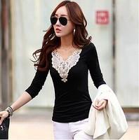 2015 Autumn Womens Korean Lace Long Sleeve V Neck Tight Shirt Spring White/Black M-2XL A0350
