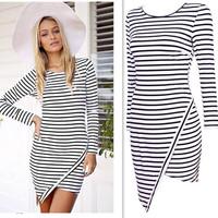 2015 Trendy Sexy Ladies Mini Pencil Dresses  Long-Sleeved Stripe Asymmetrical Casual Round Neck Bodycon Dress vestidos ay657659